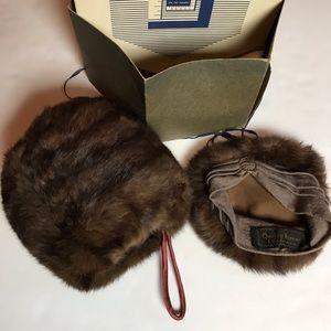 Vintage fur hat and muffler